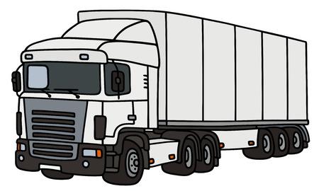 Camión de remolque blanco con un semi-remolque