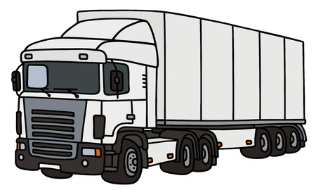 semitrailer: White towing truck with a semitrailer