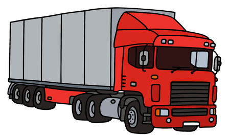 semitrailer: Red towing truck with a steel semitrailer