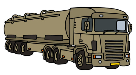 semitrailer: Military towing truck with a tank semitrailer