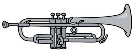 flugelhorn: Hand drawing of a silver trumpet