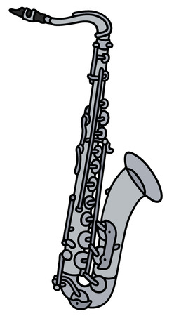 brass band: Hand drawing of a saxophone