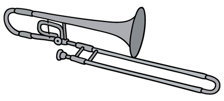 Hand tekening van een trombone Stock Illustratie