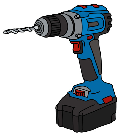cordless: Hand drawing of a blue cordless drill Illustration