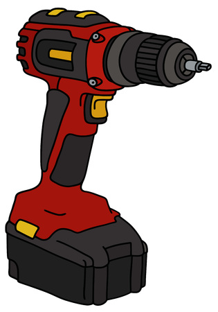 cordless: Hand drawing of a red cordless screwdriver