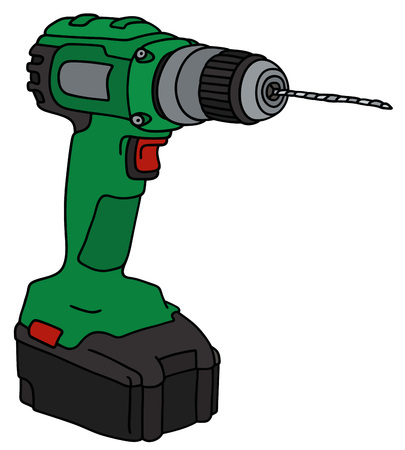cordless: Hand drawing of a green cordless drill Illustration