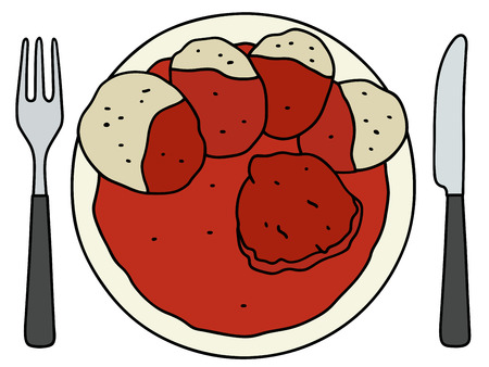 tomato sauce: Funny hand drawing of a tomato sauce