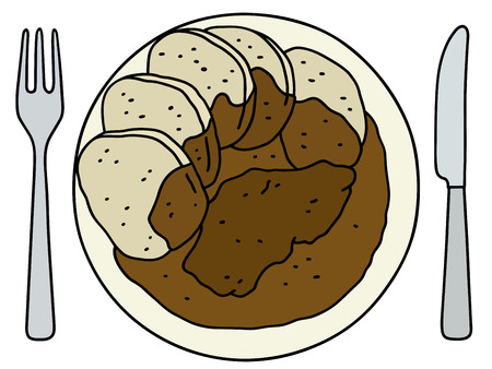 goulash: Funny hand drawing of a brown sauce Illustration