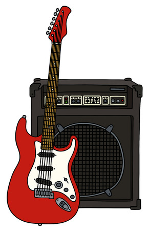 booster: Red electric guitar and the combo