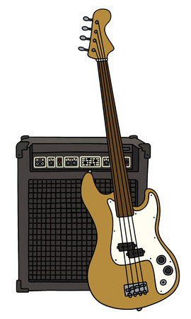 booster: Fretless electric bass guitar and the combo Illustration