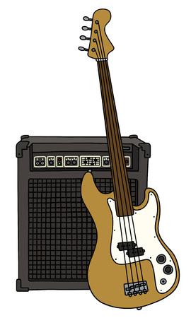 Fretloze elektrische basgitaar en de combo Vector Illustratie