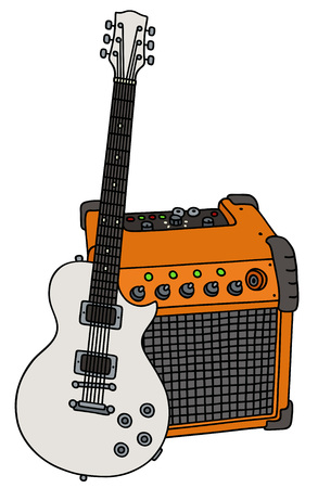 speaker box: White electric guitar and the combo