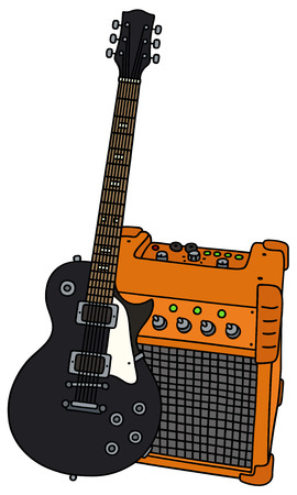 combo: Black electric guitar and the combo Illustration