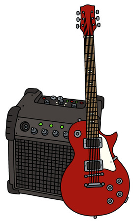 combo: Red electric guitar and the combo