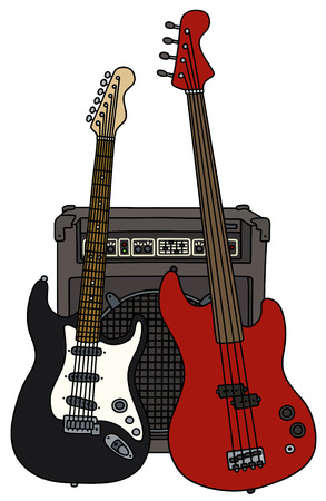Classic bass and electric guitars with the combo Illustration