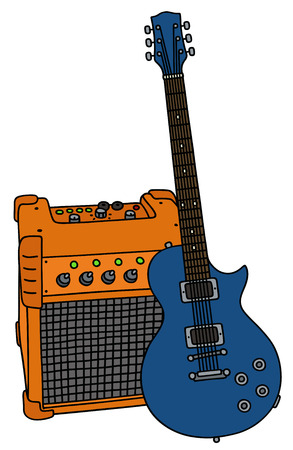 Blue electric guitar and the combo Illustration
