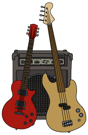 electric guitars: Classic bass and electric guitars with the combo Illustration