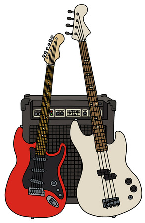 combo: Classic bass and electric guitars with the combo Illustration