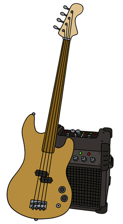 combo: Fretless electric bass guitar and the combo Illustration