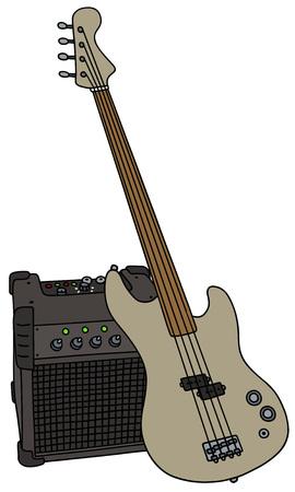 Fretloze elektrische basgitaar en de combo