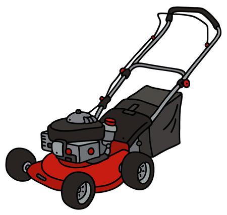 手描きの赤庭の芝刈機の
