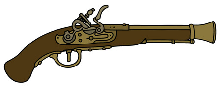 duel: Hand drawing of a historical matchlock pistol