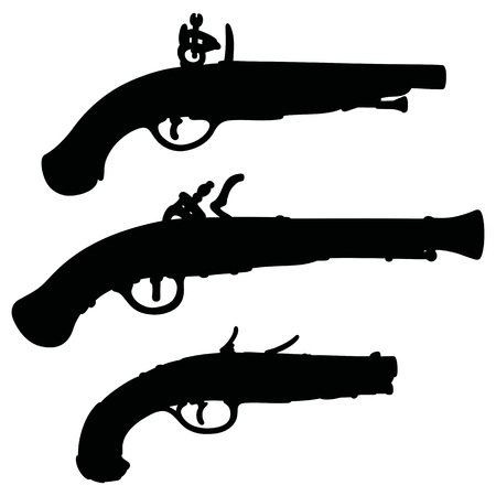 flintlock: Hand drawing of historical matchlock pistols