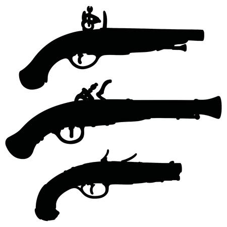 pistols: Hand drawing of historical matchlock pistols