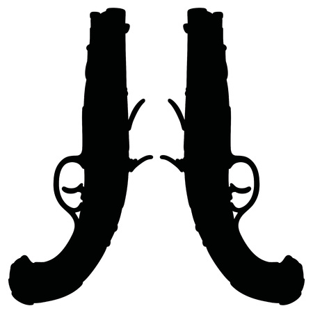 pistols: Hand drawing of two historical duel pistols