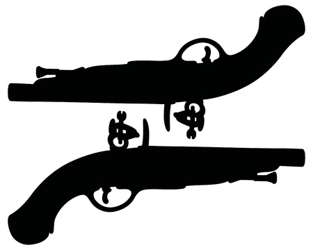 duel: Hand drawing of two historical duel pistols