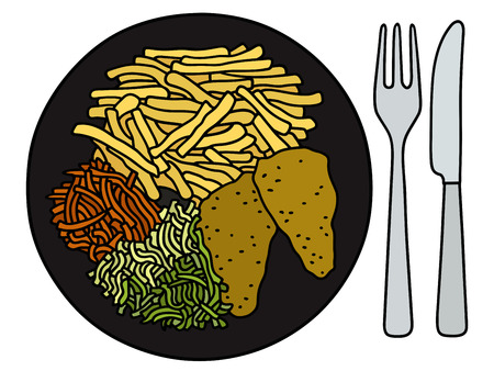 aliments droles: Hand drawing of a funny food on the black plate