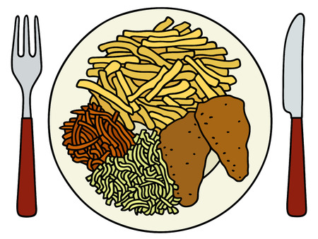 plate of food: Hand drawing of a funny food on the plate Illustration