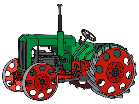 Hand drawing of a vintage green tractor