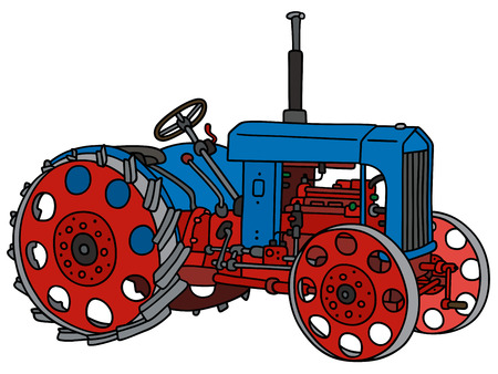 agronomic: Hand drawing of a blue vintage tractor Illustration