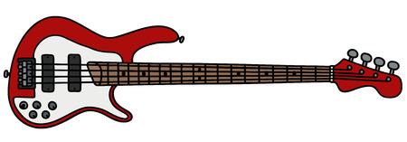 bass: Red electric bass guitar