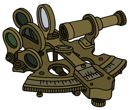 starr: Hand drawing of a historic sextant