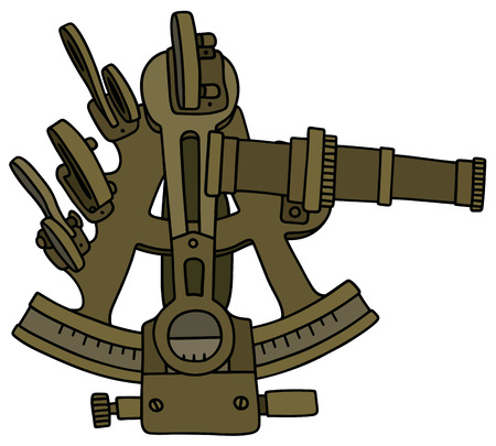 Hand drawing of a historic sextant