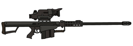 gunsight: Black big sniper rifle Illustration