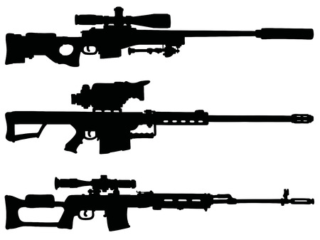 gunsight: Three big black sniper rifles silhouettes Illustration
