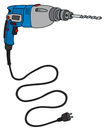 impact: Hand drawing of a blue electric impact drill Illustration