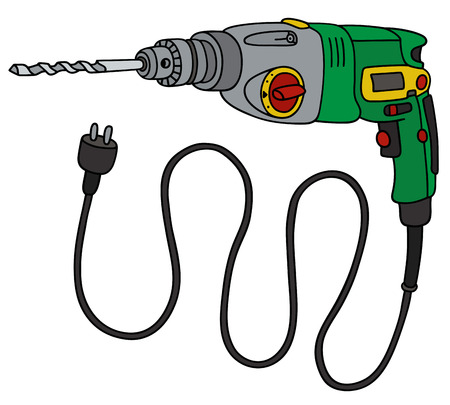 impact tool: Hand drawing of a green electric impact drill Illustration