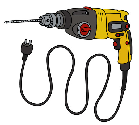 Hand drawing of a yellow electric impact drill Illustration