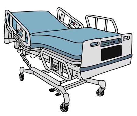 recline: Hand drawing of a modern hospital bed Illustration