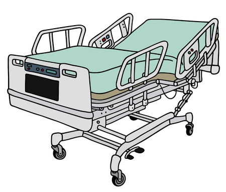 recline: Hand drawing of a big position hospital bed