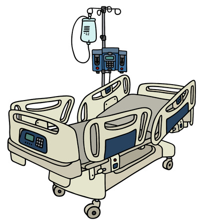 Hand drawing of a hospital position bed with the device rack