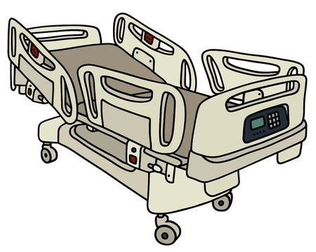 recline: Hand drawing of a hospital position bed Illustration