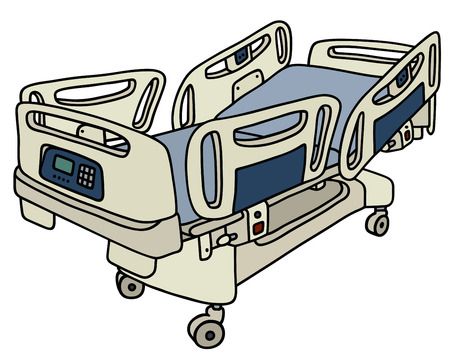 hand position: Hand drawing of a hospital position bed Illustration