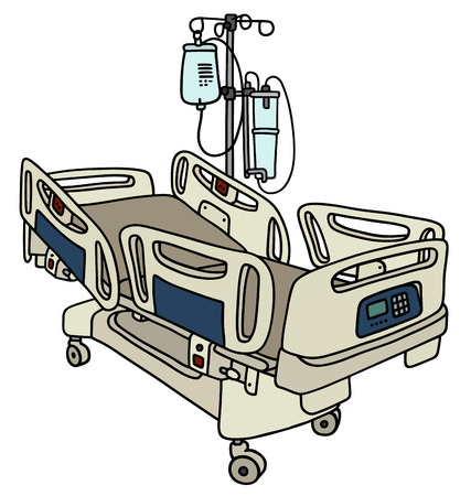 Hand drawing of a hospital position bed with the medical device rack
