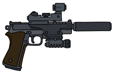 night vision: Hand drawing of a gun with the optical device