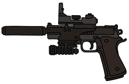 the silencer: Hand drawing of a modern handgun with the optical device and silencer